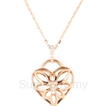 Poh Kong Angel Wing Love Lock 18K Rose Gold Diamond Pendant - 197679