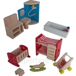 GeNz Kids Wooden Mini Furnitures (Baby's Room and Bathroom Set) - 2539