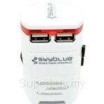 Skyblue World Travel Plug with 2Ports USB Charger White - 9555836900112