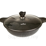 QueenSense IH Marble Coating Wok 36m with Cover - SSWM2-36IH-M