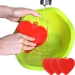 Easy & Home Ecomi Silicone Eco Scrubber Multi-cleaning Master Heart Shape 2 Pcs Red - SNT-B1002