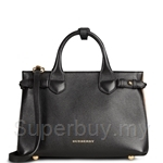 Burberry The Small Banner in Leather and HouseCheck (Black) - 39642671