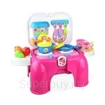 Kids Station Multifunctional Kitchen Playset + Portable Chair Set