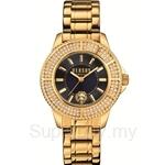 Versus Tokyo Crystal 38mm VESH7240015 Stainless Steel IP Yellow Gold Bracelet Full Swarovski Bezel Blue Dial Ladies Watch