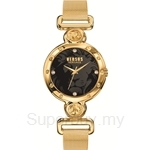 Versus Sunnyridge Mesh VESOL100016 Gold Mesh Bracelet Black Dial Ladies Watch