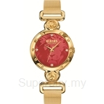 Versus Sunnyridge Mesh VESOL110016 Gold Mesh Bracelet Red Dial Ladies Watch
