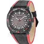 Timberland Rindge Mens Black Red Leather Strap Watch TBL.14364JSB/61