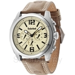 Timberland Brattleboro TBL.14366JS/07 Brown Leather Strap Beige Dial Men Watch