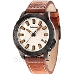 Timberland Wayland TBL.14647JSB/07 Brown Leather Strap Beige Dial Men Watch