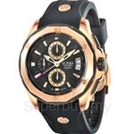 Bonia Black Rubber Strap Black Dial with IP Rose Gold Case & Bezel Chronograph Function Men Watch - BNB737-1532CR