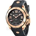 Bonia Black Rubber Strap IP Rose Gold Case Black Dial Men Watch - BNB737-1533R