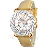 Bonia Yellow Leather Strap Crystal Bezel Ladies Watch - BNB794-2225