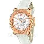 Bonia White Leather Strap White Dial Rose Gold Crystal Bezel Ladies Watch - BNB794-2515