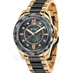 Bonia Two Tone IP Yellow Gold Black Stainless Steel Crystal Bezel Ladies Watch - BNB796-3035