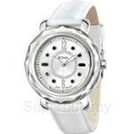 Bonia White Leather Strap Crystal Bezel Ladies Watch - BNB797-3315