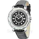Bonia Black Leather Strap Black Dial Crystal Bezel Ladies Watch - BNB797-3335