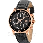 Bonia Black Leather Strap with IP Rose Gold Case Multifunction Men Watch - BNB814-2512L