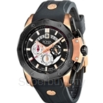 Bonia Black Rubber Strap with IP Rose Gold Case Chronograph Men Watch - BNB829-1032C