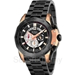 Bonia All Black with IP Rose Gold Case Chronograph Men Watch - BNB829-1532C