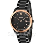 Bonia All Black with IP Rose Gold Bezel Men Watch - BNB836-1533
