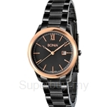 Bonia All Black with IP Rose Gold Bezel Ladies Watch - BNB836-2533