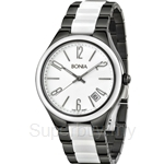 Bonia Two Tone Black & White Stainless Steel Ceramic Watch - BNB881-2715