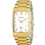 Bonia IP Yellow Gold White Square Dial Men Watch - BNB915-1212