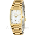 Bonia IP Yellow Gold White Square Dial Ladies Watch - BNB915-2212
