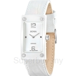 Bonia Square Dial All White Leather Strap Ladies Watch - BNB927-2315
