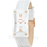 Bonia Square Dial All White Leather Strap with Rose Gold Index Ladies Watch - BNB927-2375