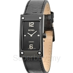Bonia Square Dial All Black Leather Strap Ladies Watch - BNB927-2735