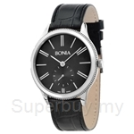 Bonia Black Leather Strap Black Dial Men Watch - BNB961-1339