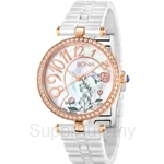 Bonia White Ceramic with Rose Gold Case Ladies Watch - BNB966-2514S