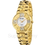 Bonia IP Yellow Gold White Mother of Pearl Dial Ladies Watch - BNB977-2253