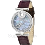 Bonia Purple Leather Strap Mother of Pearl Dial Ladies Watch - BNB994-2309S