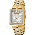 Bonia IP Yellow Gold with Crystal Bracelet Square Dial Ladies Watch - BNB995-2251S