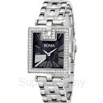 Bonia All Stainless Steel with Crystal Bracelet Square Black Dial Ladies Watch - BNB995-2331S