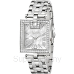 Bonia All Stainless Steel with Crystal Bracelet Square White Mother of Pearl Dial Ladies Watch - BNB995-2351S