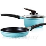 Roichen Natural Ceramic Cookware 18cm Sauce Pan + 20cm Frying Pan (Blue) - RNC1820FB
