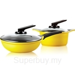 Roichen Natural Ceramic Cookware 20cm Casserole + 26cm Frying Wok 4p Set (Yellow) - RNC2026WY