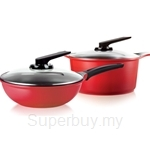 Roichen Natural Ceramic Cookware 28cm Casserole + 30cm Frying Wok 4p Set (Red) - RNC2830WR