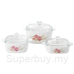 Corningware 6pcs Covered Casserole Set Rosabelle - A-140-ROS