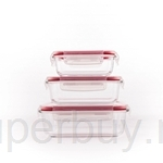 Pyrex 3pcs Rectangular Storage Set (White Lid With Red Silicone)