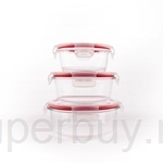 Pyrex 3pcs Round Storage Set (White Lid With Red Silicone)