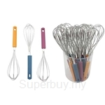 Fackelmann Egg Whisk Stainless Steel In PVC Tube (Assorted Colours) - 5903681