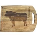 Fackelmann Acacia Wooden Cutting Board with Laser Logo Cow - 5273081