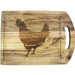 Fackelmann Acacia Wooden Cutting Board with Laser Logo Hen - 5273181