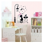 IR Animal Wall Deco Sticker - Romantic Cats (32cmx60cm)