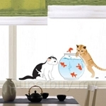 IR Cat & Fishbowl Wall Deco Sticker (35cm x 50cm)
