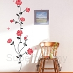 IR FLOWER & BUTTERFLY (Red) Wall Deco Sticker (50cm X 70cm)